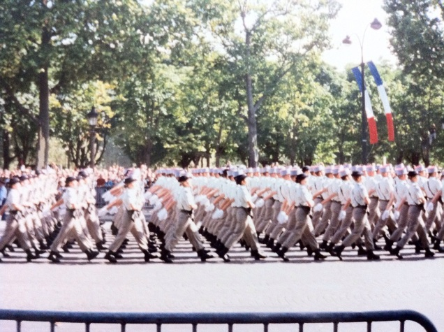 Bastille Day parade, Paris, July 1995. I don't recall which unit this was, but there are women in it. [Photo by me, 1995.]