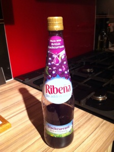 Ribena. Three quarters finished. But there's another in the cupboard. [Photo by me, 2015.]