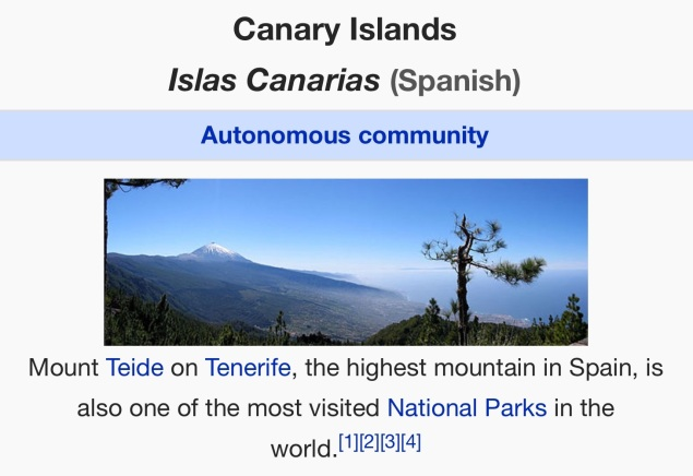 The Canary Islands. Wikipedia. [Screen capture by me, 2015.]