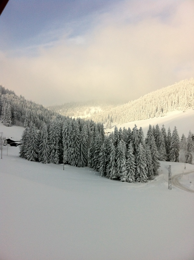 Mid-morning today, from our La Clusaz chalet. [Photo by me, 2015.]