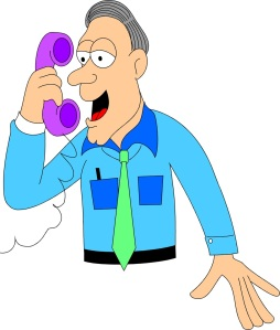 Free Stock Photo: Illustration of a man talking on a telephone.