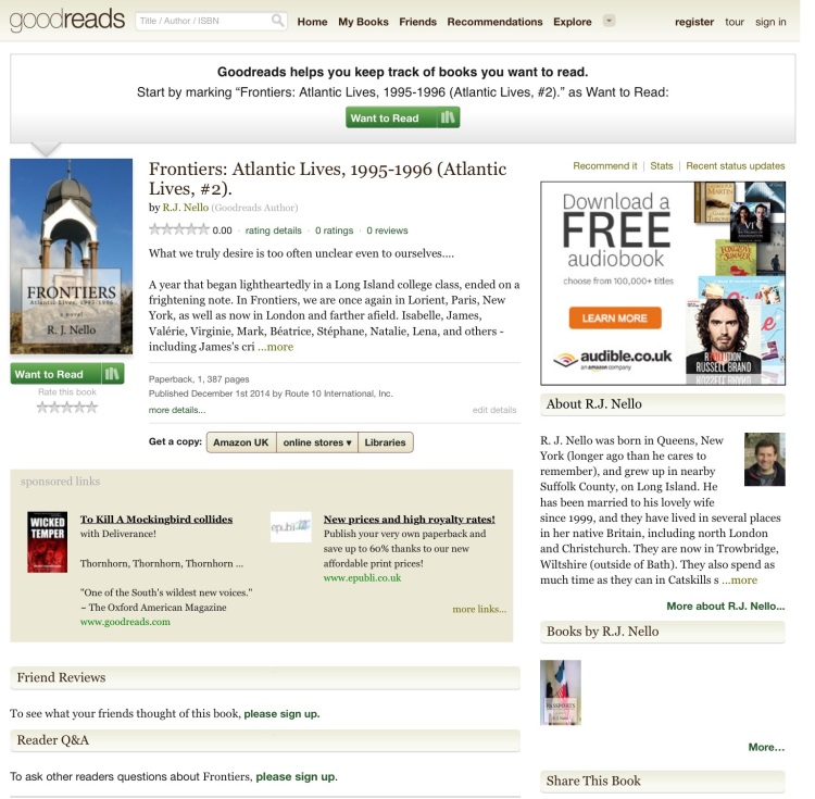 Goodreads home page screen capture.