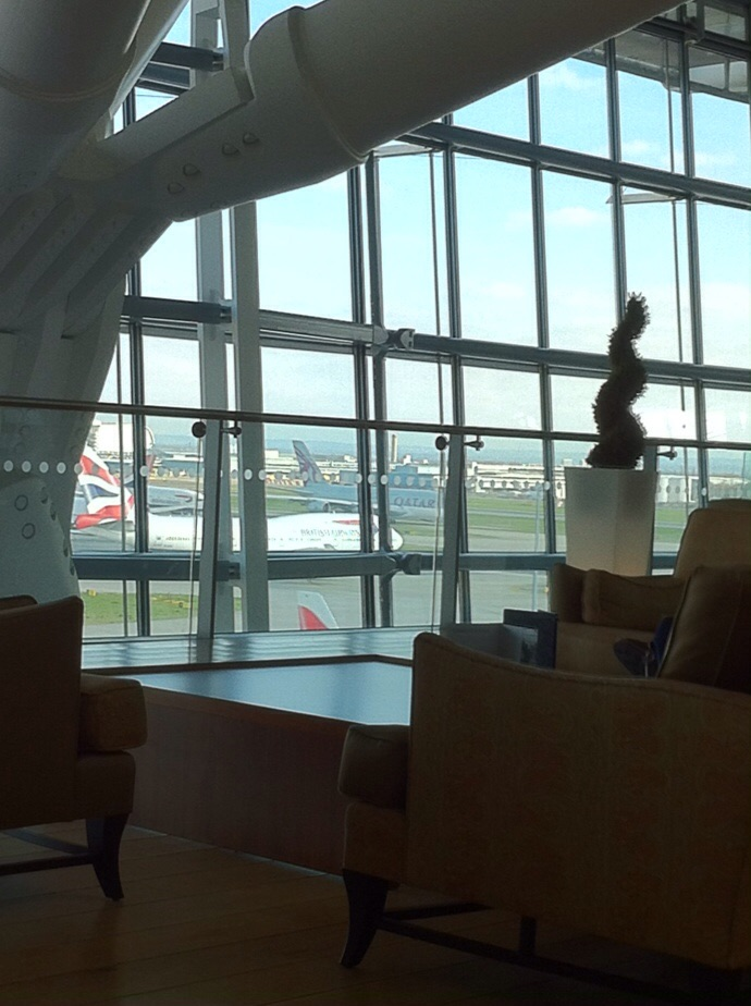 View out from inside Heathrow Airport, Terminal 5. [Photo by me, 2015.]