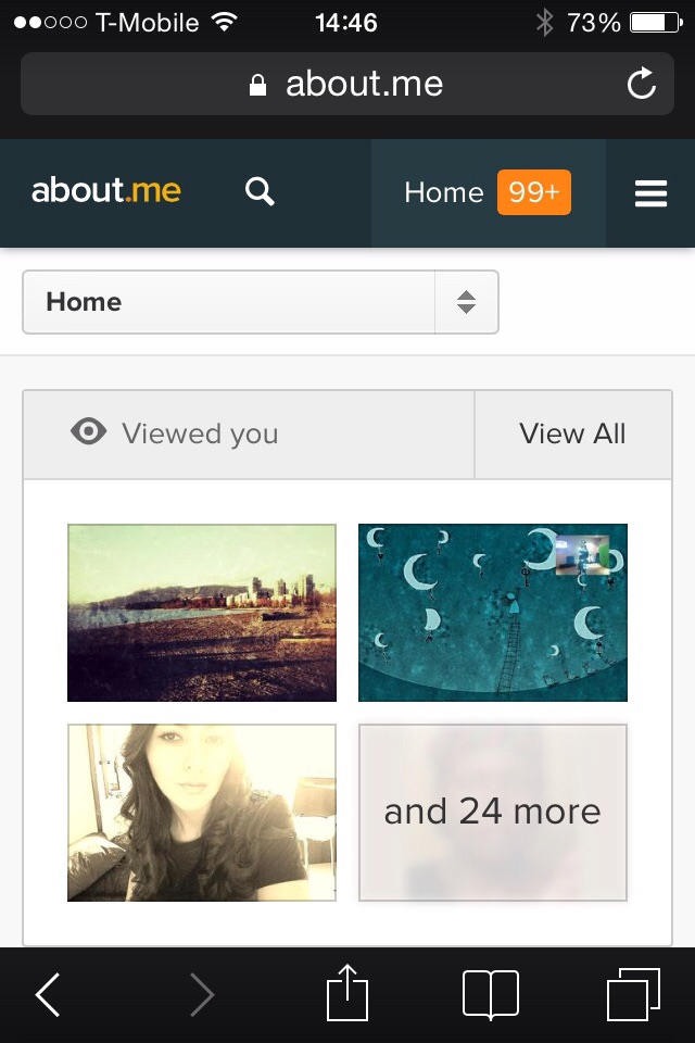 About.me screen capture yesterday.
