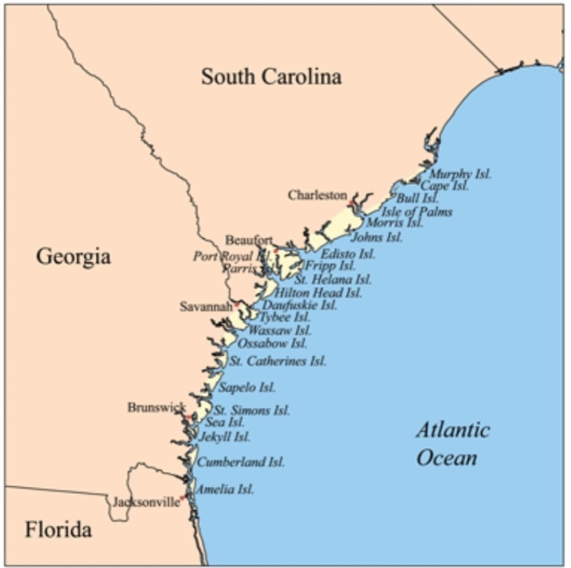Amelia Island, Florida, is just north of Jacksonsville. [Map from Wikipedia.]