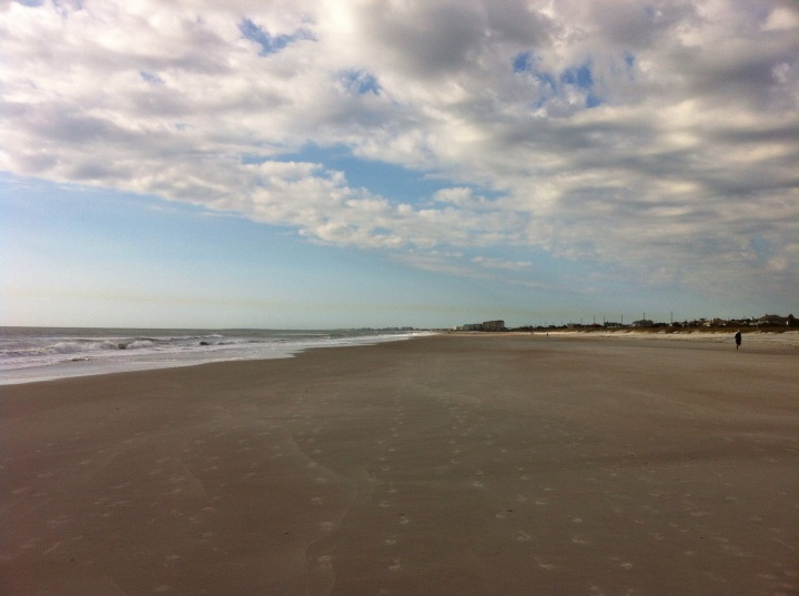 View down the beach on Amelia Island, yesterday morning, around 10 am. [Photo by me, 2015.]