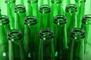 Free Stock Photos: Empty green beer bottlenecks.