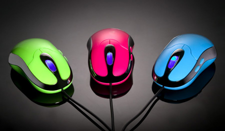 Free Stock Photo: Bright colored computer mice.