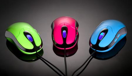 Free Stock Photo: Bright colored computer mice.
