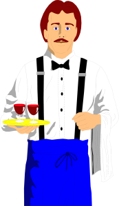 Free Stock Photo: Illustration of a waiter with wine glasses.