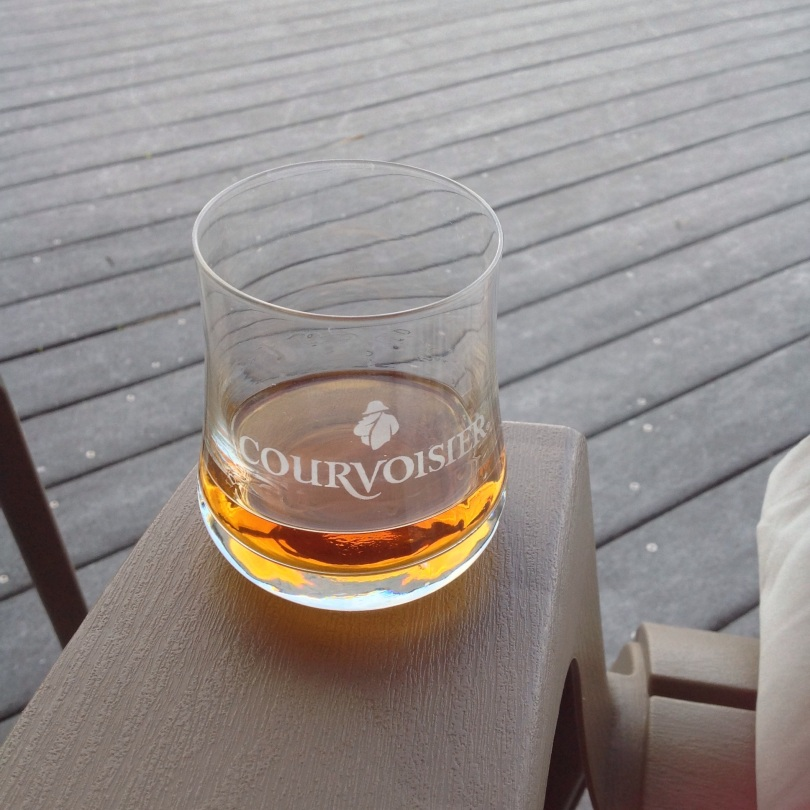 Courvoisier cognac in a proper glass. [Photo by me, 2015.]