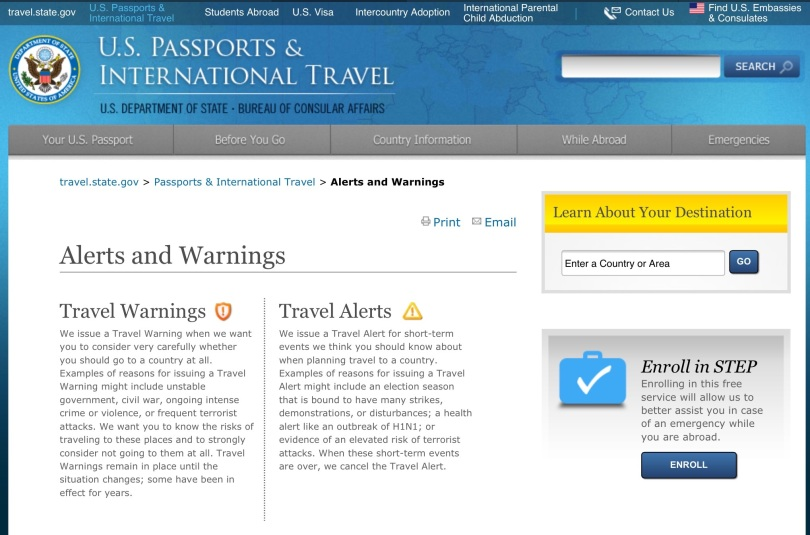 "Screen capture, U.S. State Department ""Alerts and Warnings"" home page."