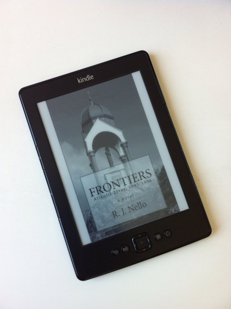 Frontiers cover page, on Kindle. [Photo by me, 2015.]