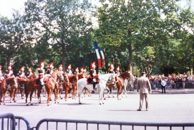 French soldiers on parade. Bastille Day, Paris, France, July 1995. [Photo by me.]