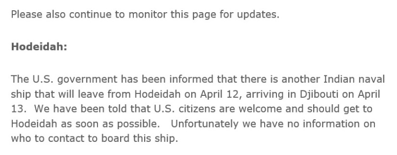 U.S. State Department advises U.S. citizens in Yemen about an Indian ship.