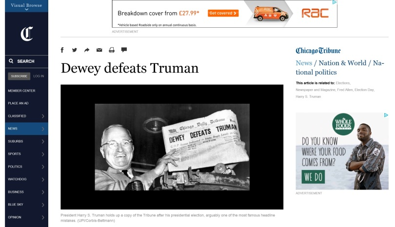 Screen capture of the Chicago Tribune web site.
