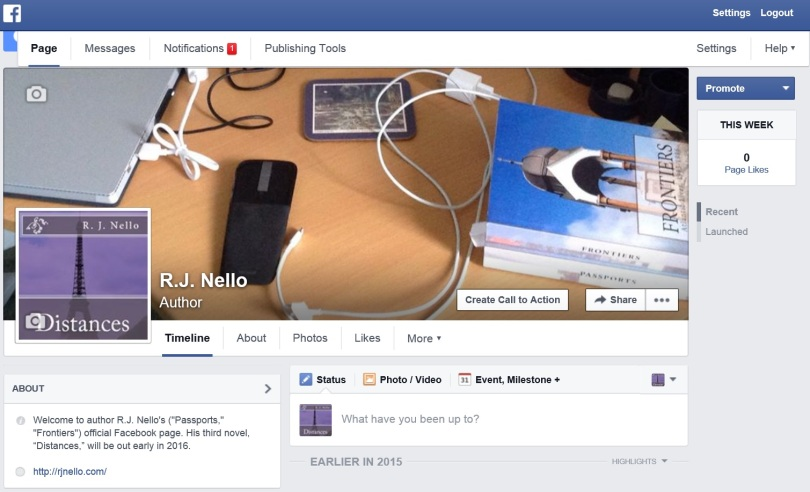 Screen shot of my Facebook page, pre-publication.