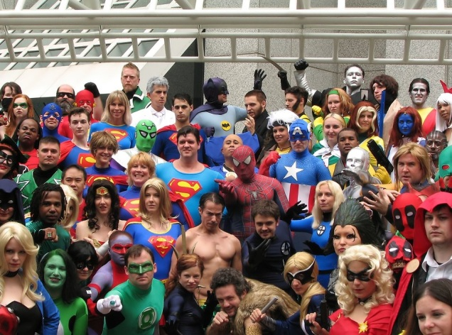 Free Stock Photo: A group of superheroes in costume at Dragoncon 2009 in Atlanta, Georgia.