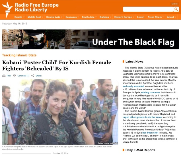 Screen capture of RFE/RL web site, May 16, 2015.