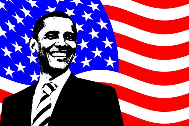 Free Stock Photo:	An illustration of Barack Obama with an American Flag background.