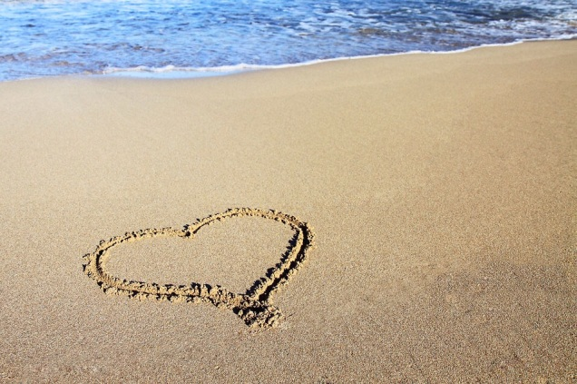Free Stock Photo: A heart drawn in the sand.