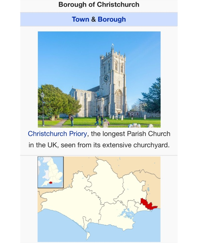 Christchurch. [Screen capture of Wikipedia by me, 2015.]