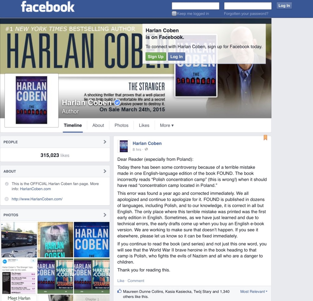 Screen capture of author Harlan Coben's Facebook page.