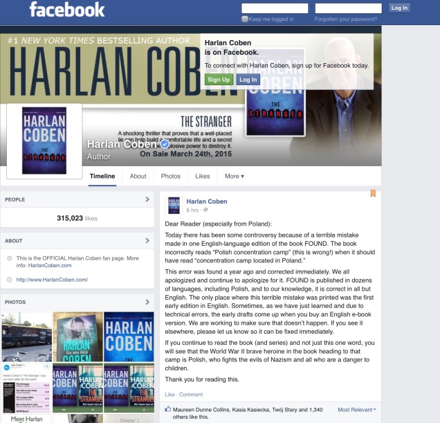 Screen capture of author Harlan Coben's Facebook page.