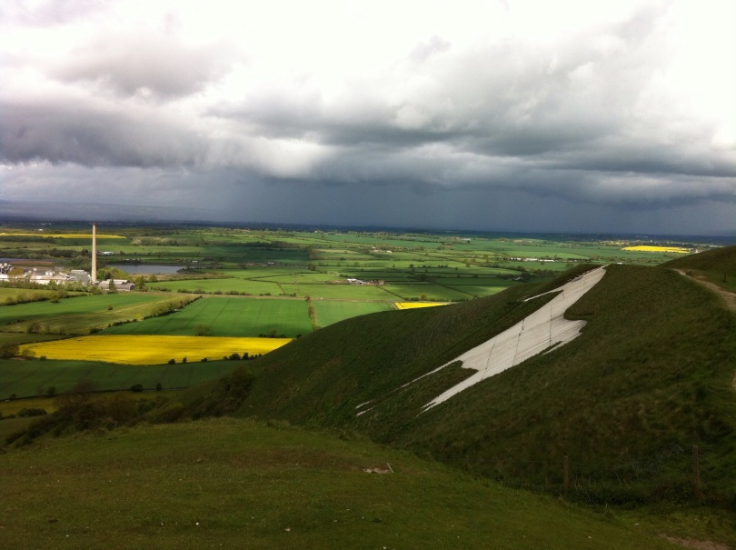 View of the Wiltshire countryside, taken next to the Westbury White Horse last Sunday. [Photo by me, 2015]