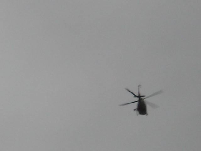 An Italian military helicopter over Rome. [Photo by me, 2005.]