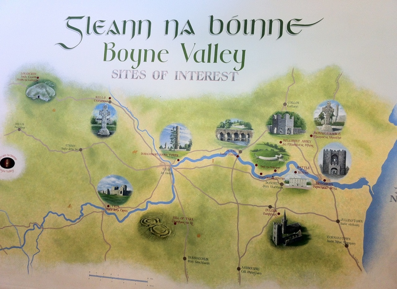 An artistic map of the area, on a wall in Brú na Bóinne's visitor center. [Photo by me, 2015.]