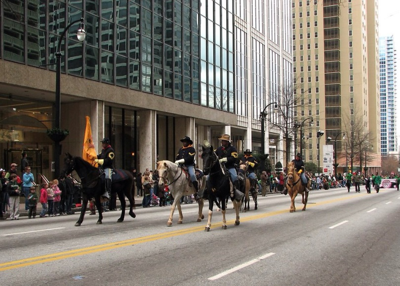 Free Stock Photo: Mounted civil war soldiers in the 2010 Saint Patricks Day Parade in Atlanta, Georgia. [Note: they are African-Americans, in Union uniforms, parading in what had been Confederate, secessionist Atlanta, Georgia.]