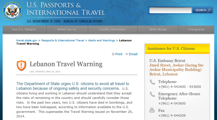 Screen capture of the Department of State's May 29, 2015, Lebanon Travel Warning.