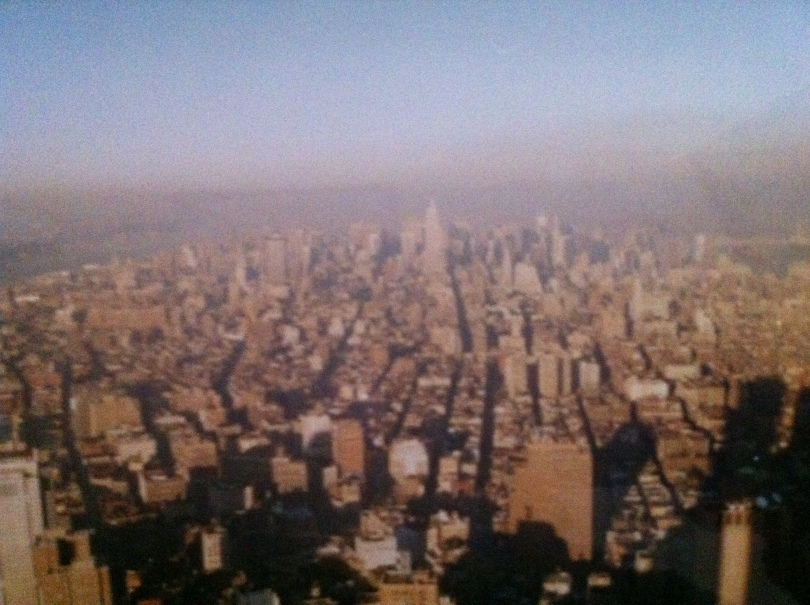 View toward the Empire State Building and midtown Manhattan from the former World Trade Center's South Tower, 1991. [Photo by me.]
