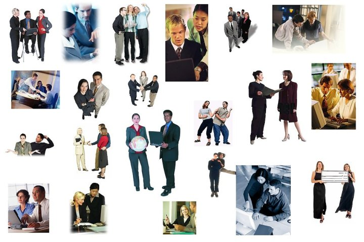 Free Stock Photo: Various groups of business men and women.