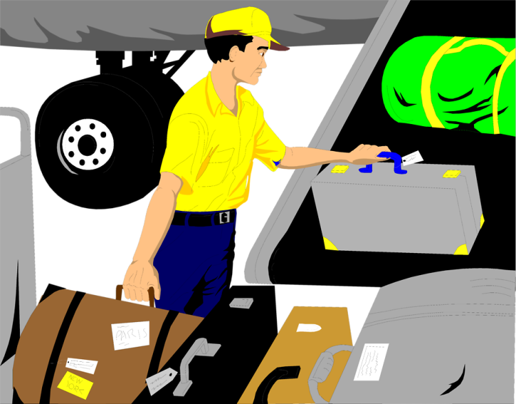 Free Stock Photo:  Illustration of a baggage handler loading luggage onto an airplane.