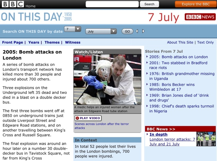 Screen capture of BBC web site.