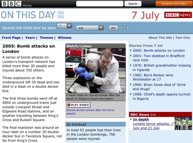 Screen capture of BBC web site.