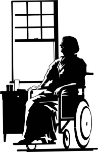Free Stock Photo: Illustration of an older woman in a wheelchair.