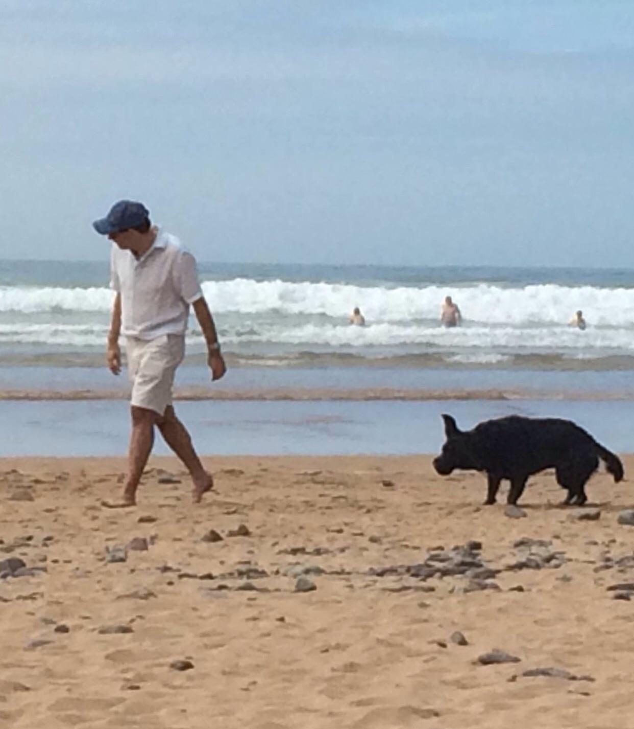 Devon beach, with the wet hound. [Photo, 2015.]