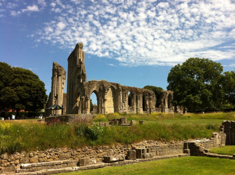 Part of the remains of Glastonbury Abbey. [Photo by me, 2015.]
