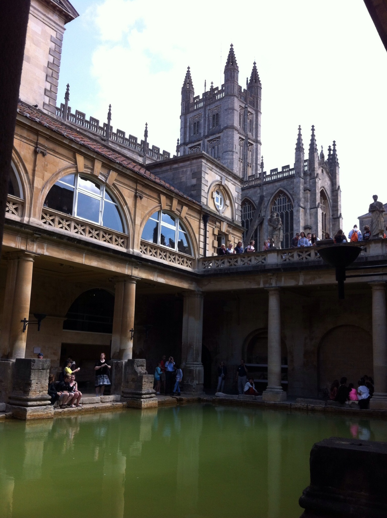 After having worked your way downstairs, through the excellent exhibits on life in the former Aquae Sulis, you look up and one of the best views of the city is here, up towards Bath Abbey. [Photo by me, 2015.]