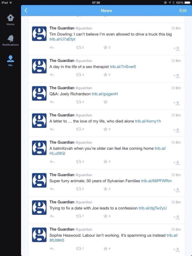Screen capture of my Twitter.