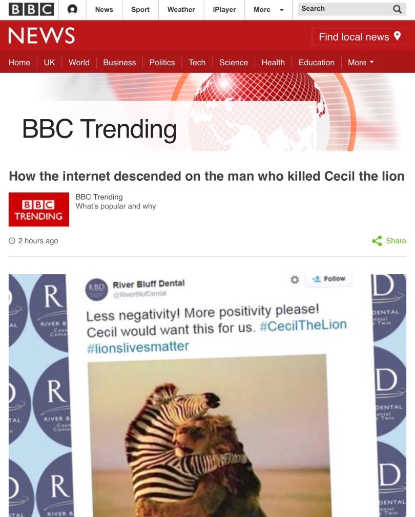 Screen capture of the BBC web site.