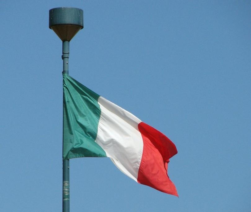 Free Stock Photo: Italian flag in blue sky.