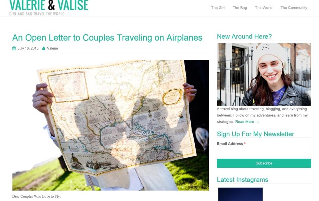 Screen capture, Valerie & Valise web site.