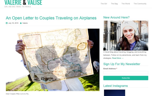 Screen capture, Valerie & Valise web site.