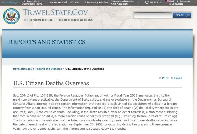Screen capture of the U.S. State Department web site.
