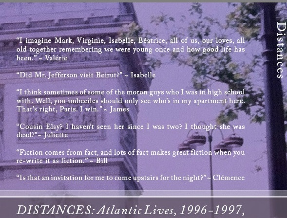 """Distances"" back cover character quotes. [Original photography by me, 1995.]"