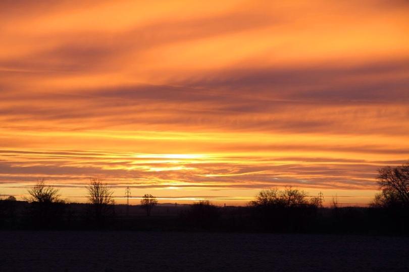 Free Stock Photo: Orange emotional sunrise.